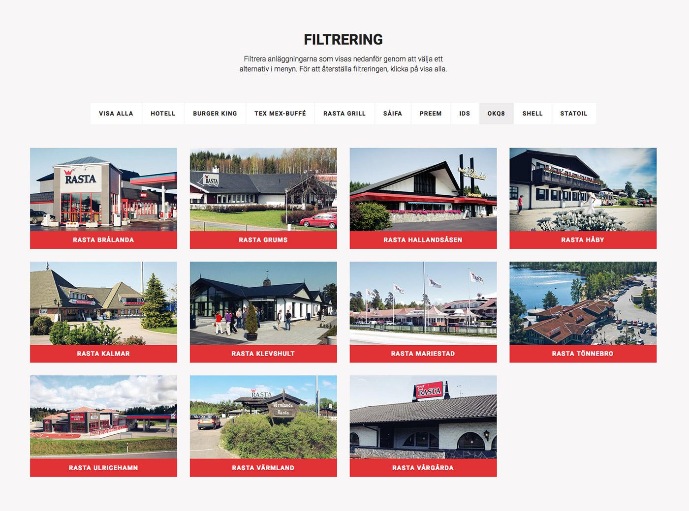 Rasta vägkrogar webbplats filtrering