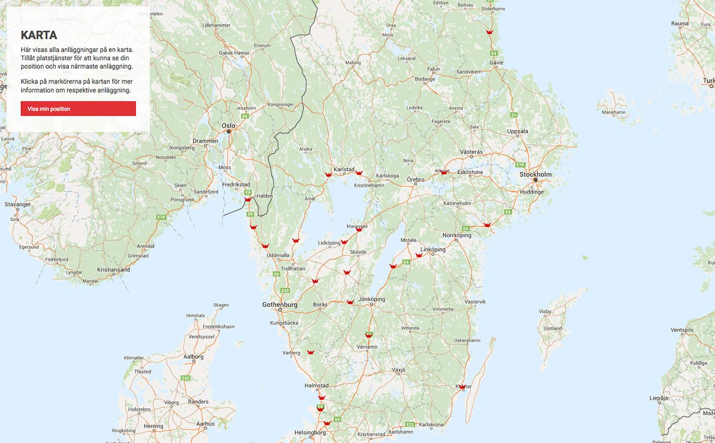 Rasta vägkrogar webbplats karta